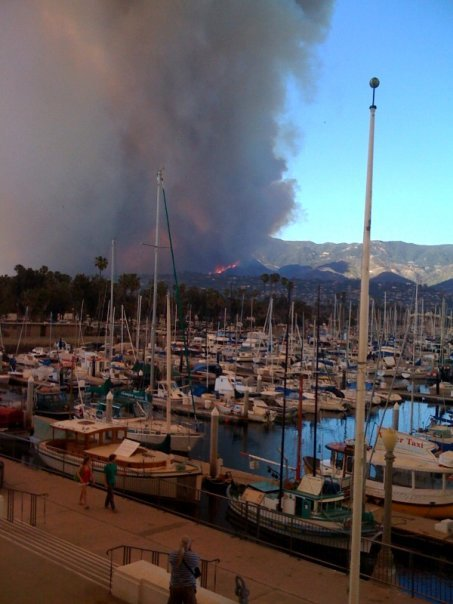a shot of the Jesusita fire, from Marina
