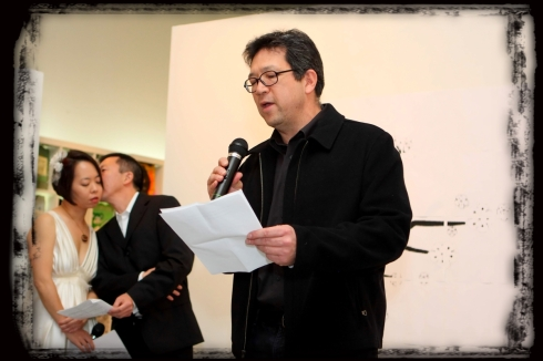 Reading Jeff and Karin's Wedding Poem in an Alhambra art gallery, with Jeff's photos on the walls, Diep Tran's hors d'oeuvres, and flocks of lives intertwining with vegetal chance.