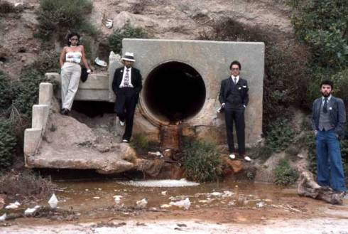 Asco, Asshole Mural, 1974. Colour photograph. Photograph: Harry Gamboa, Jr, showing Patssi Valdez, Humberto Sandoval, Willie Herrón III and Gronk.
